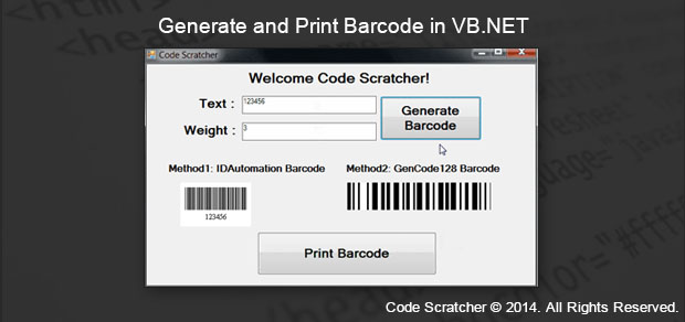 Generate and Print Barcode in VB NET - Code Scratcher
