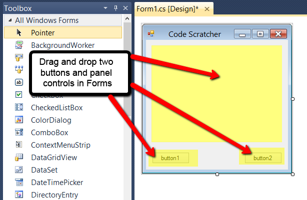 Drag and drop controls in windows forms