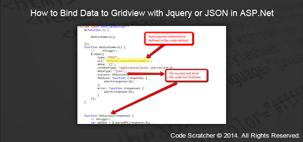 How to Bind Data to Gridview with Jquery or JSON in ASP Net