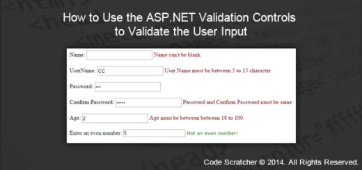 How to Use the ASP.NET Validation Controls to Validate the User Input