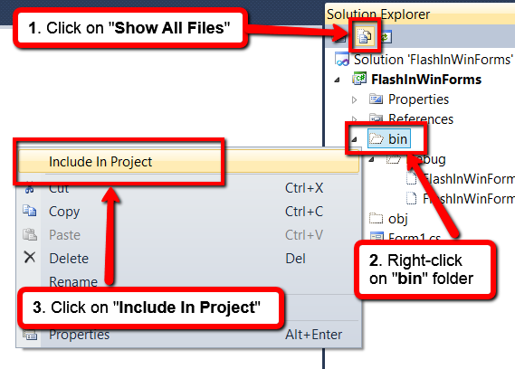 Include bin folder in project