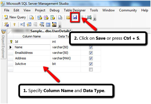 SPECIFY COLUMN NAME AND DATA TYPE