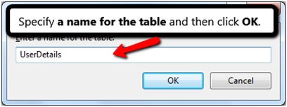SPECIFY TABLE NAME