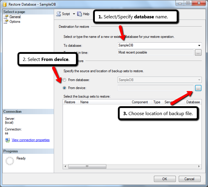 SPECIFY DATABASE NAME AND LOCATION