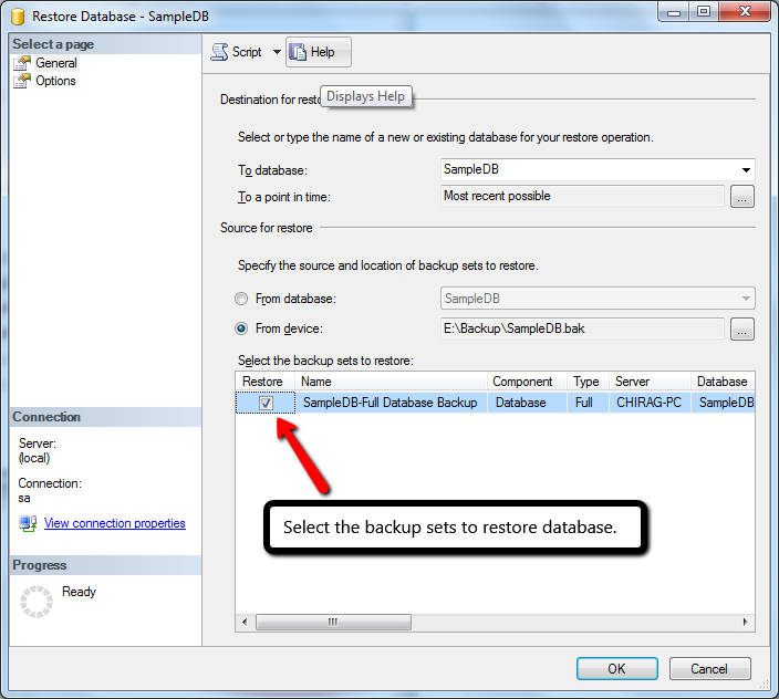 Select the backup sets to restore database