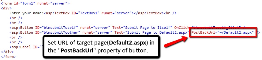 Set Target Page URL In PostBackUrl Property