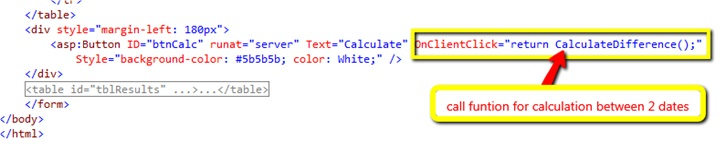 Call CalculateDifference function on button click