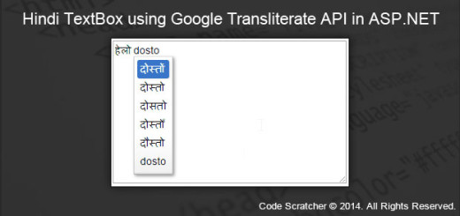 Hindi TextBox using Google Transliterate API in ASP.NET
