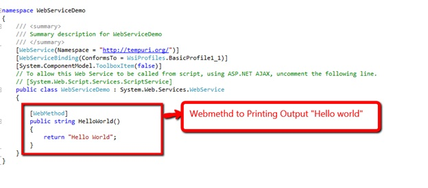 code behind file of web service