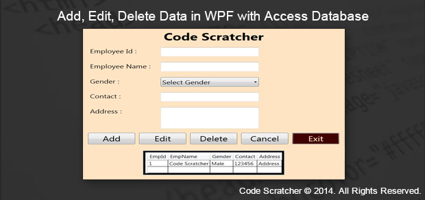Add, Edit, Delete Data in WPF with Access Database