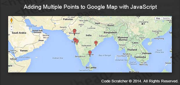 Adding multiple points to google map with javascript adding multiple points to google map with javascript code scratcherg gumiabroncs Gallery