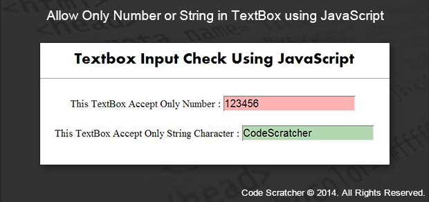 Allow Only Number or String in TextBox using JavaScript