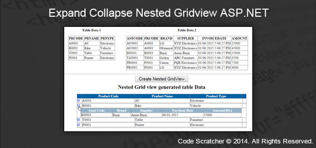Expand Collapse Nested Gridview in ASP NET