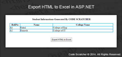 Export HTML to Excel in ASP.NET