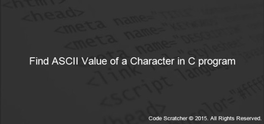 Find ASCII Value of a Character in C program