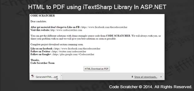 HTML to PDF using iTextSharp Library In ASP NET