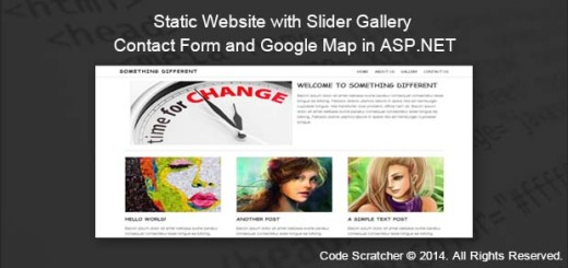 Static Website with Slider Gallery Contact Form and Google Map in ASP.NET