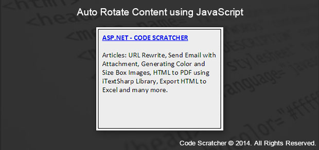 Auto Rotate Content using JavaScript - Code Scratcher
