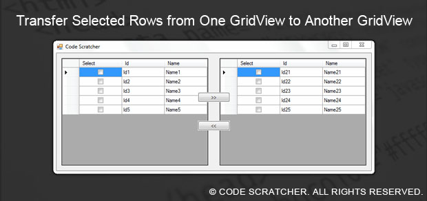 Transfer Selected Rows from One GridView to Another GridView