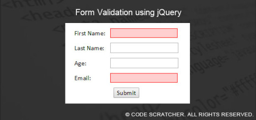 Form Validation using jQuery - CODE SCRATCHER
