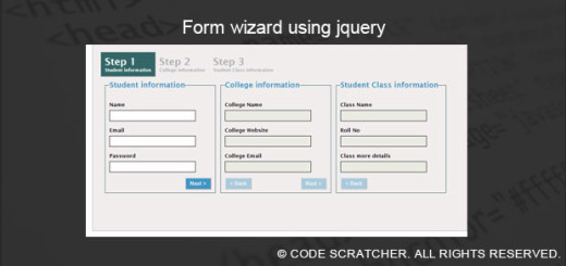 Form wizard using jquery