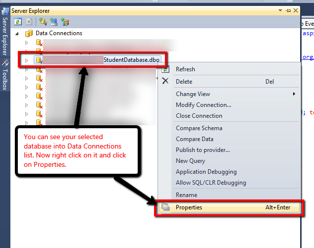 Step4: Connect database with C# project