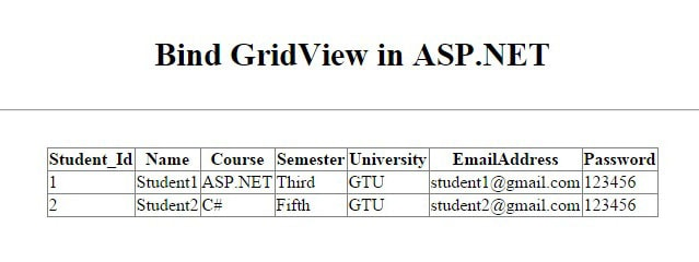 Bind GridView in ASP-NET - Output