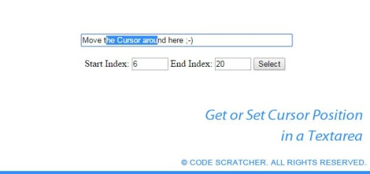 Get or Set Cursor Position in a Textarea - CODE SCRATCHER