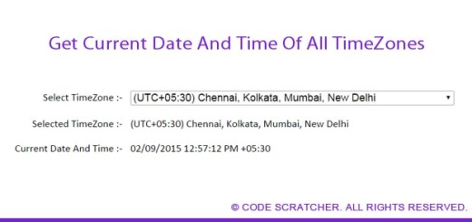 Get Current Date And Time Of All TimeZones - Code Scratcher