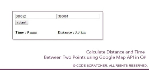 Calculate Distance and Time Between Two Points using Google Map API - CODE SCRATCHER