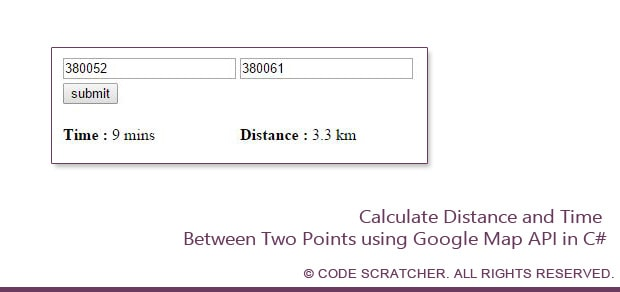 Calculate Distance and Time Between Two Points using Google Map API
