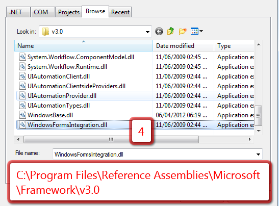 Add reference of Forms Integration dll