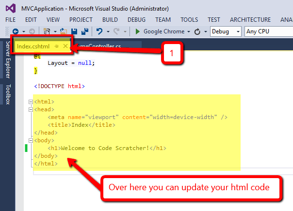 Update html page in view - CODE SCRATCHER